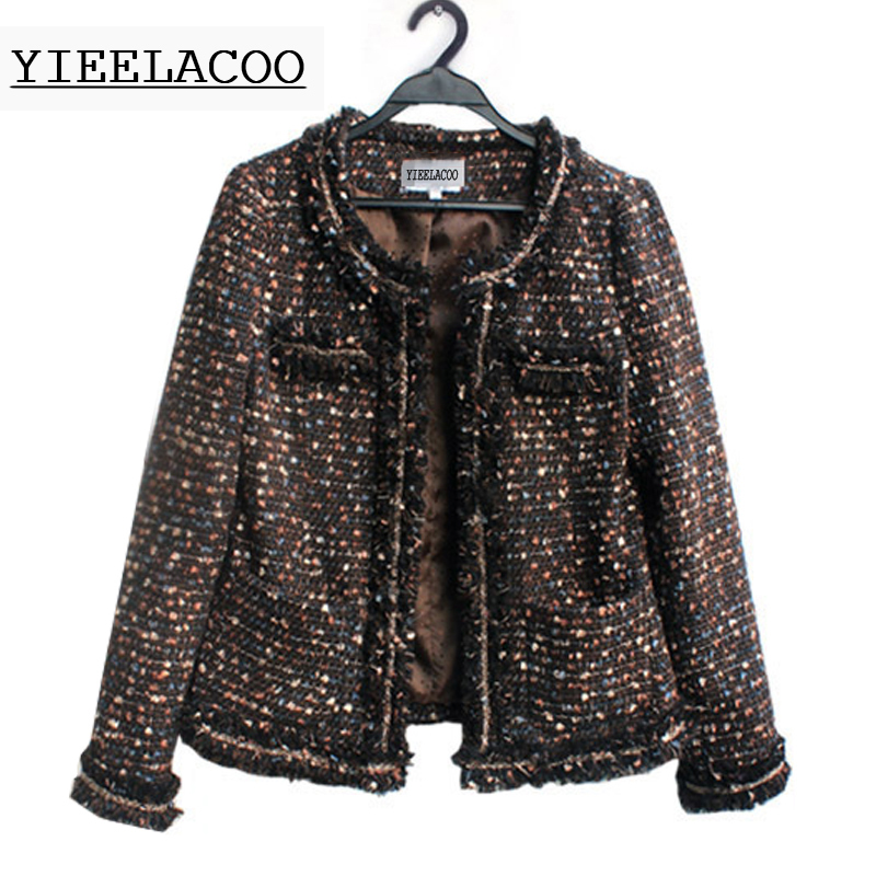 Tweed jacket autumn Winter Women s Jackets models of foreign trade round neck thick coffee color