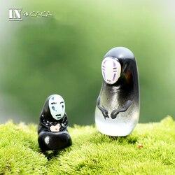 2pcs Spirited Away Faceless man/Anime Action Figure/terrarium/doll house/fairy garden miniatures ornaments aquarium accessories