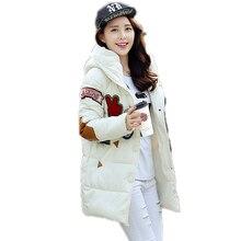 New 2016 fashion winter jacket women print Pockets slim polyester coats plus size 3XL Casual hooded zipper cotton parkas