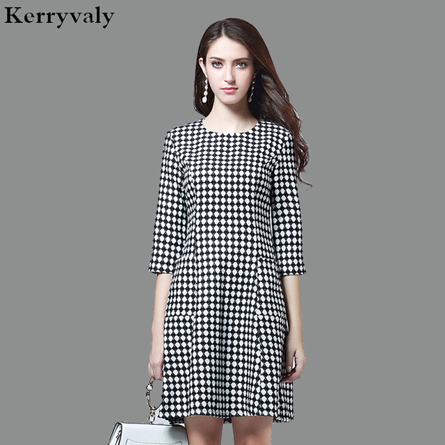 OL Occupation Retro Gray Plaid Office Dress Robe Femme Hiver 2018 Spring  Women Dresses Tunique Femme e759eecd97f5
