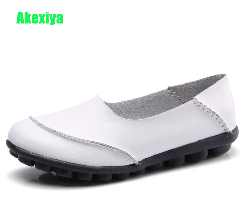 Akexiya Top Fashion Women's Flat Shoes Genuine Leather Woman Shoes Flats Casual Loafers Soft Slip On Moccasins Lady Driving Shoe цена 2017