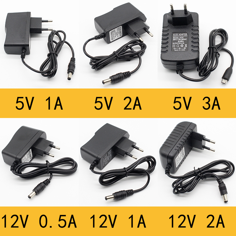 1pcs 100-240V AC to DC Power Adapter Supply Charger adapter 5V 12V 1A 2A 0.5A EU Plug 5.5mm x 2.5mm/5v3aDC Plug Micro USB ...