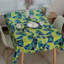 Green Abstract Geometry Cotton Table Cloth Rectangle Printed Table Covers  Dustproof Thick Tablecloths For Wedding Home Party