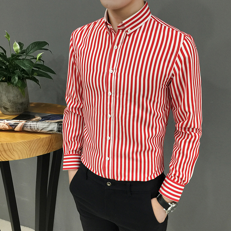 YASUGUOJI New 2019 Men's Business Casual Slim Fit Long Sleeve Shirts Vertical Striped Shirts For Men Formal Polyester Shirt Men