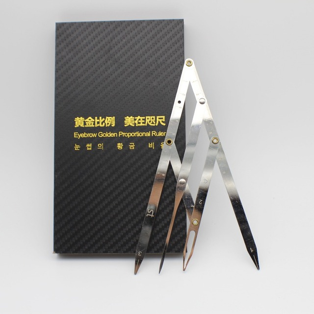 1 Box Micoblading Eyebrow Divider With Pen Designed Golden Mean CALIPERS Eyebrow Shape Permanent Makeup Ratio Measure Tool