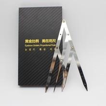 1 boîte Micoblading sourcil diviseur avec stylo conçu or moyen étriers sourcil forme permanente maquillage rapport outil de mesure