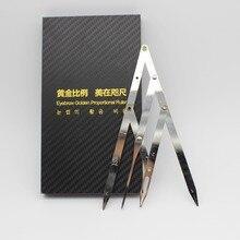 1 caixa micoblading sobrancelha divisor com caneta projetado pinças de média dourada forma sobrancelha permanente maquiagem relação medida ferramenta