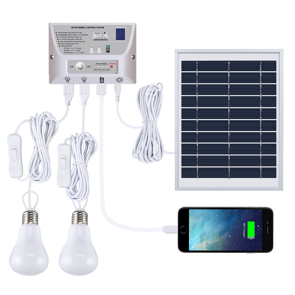 Multi-Function Solar Mobile Lighting System Portable Lights Kit Garden Outdoor Camping Tent Emergency Charging By Mobile Phone