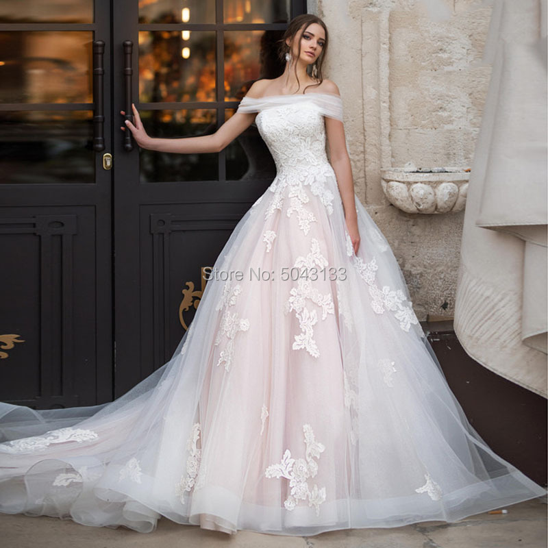 Elegant Off The Shoulder Ball Gown Wedding Dresses Vintage Appliques 2019 Pink Tulle Lace Up Bridal Gowns Vestidos Noiva W01