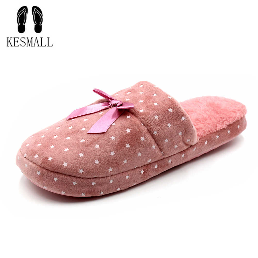 abd519e6ca3f3 Candy color Warm Home Slippers Women Bedroom Winter Slippers Cartoon Bowtie  Indoor Slippers Cotton Shoes drop