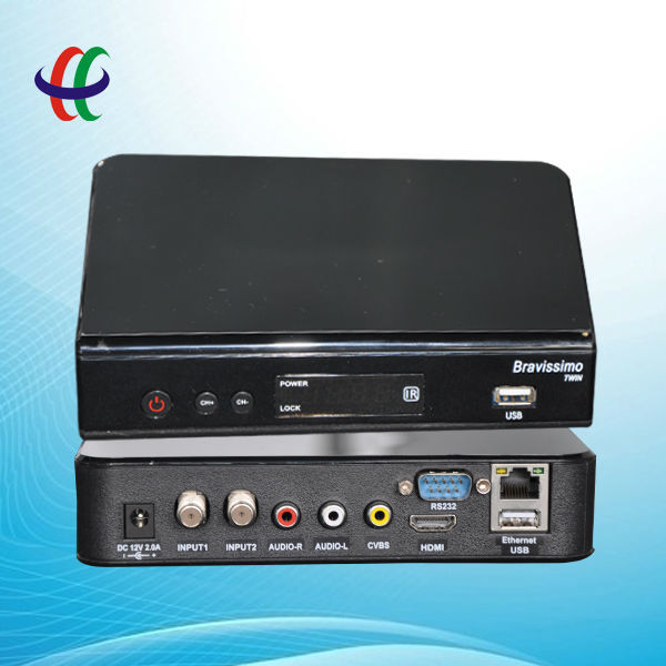free ship to Brazil AZBOX Bravissimo Two Tuner Nagra3 HD Satellite Receiver with SKS/IKS 2012 newest products