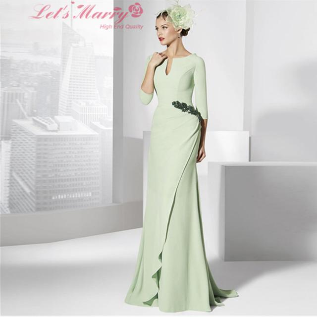 WDZ-237 Mãe Dos Vestidos de Noiva Longo Luz Verde 3/4 Mulheres manga Vestido de Noite Formal Chiffon Mãe Do Noivo vestidos