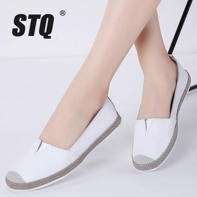 STQ 2020 sonbahar kadın Flats hakiki deri ayakkabı üzerinde kayma loafer ayakkabılar kadın balerin bale daireler büyükanne mokasen 952