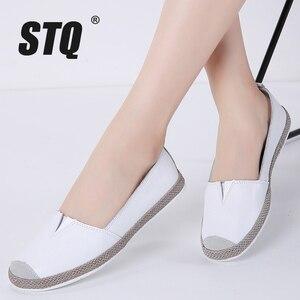 Image 1 - STQ 2020 סתיו נשים דירות עור אמיתי נעליים להחליק על מוקסינים נעלי נשים בלרינה בלט דירות סבתא ופרס 952