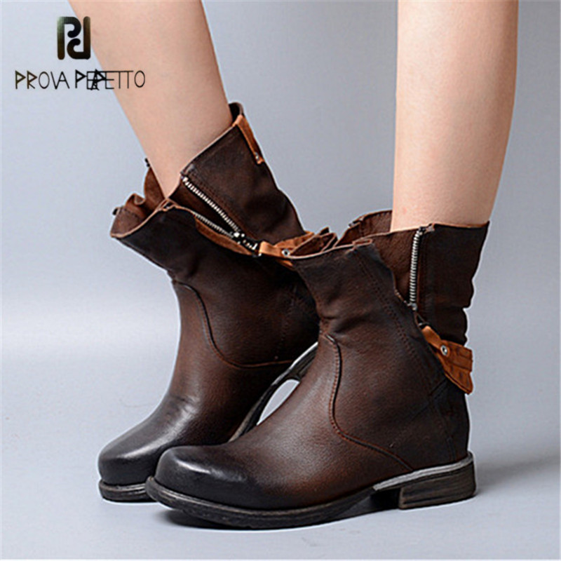 Prova Perfetto British Style Ankle Boots for Women Back Strap Short Booties Genuine Leather Female Double Zipper Flat Boots prova perfetto 2018 newest genuine leather short boots women rivet belt strap platform flats knigh boots punk style boots female