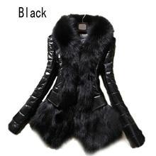 2016 Hot Luxury Women's Faux Fur Coat Leather Outerwear Snowsuit Long Sleeve Jacket Black Fashion Free Shipping