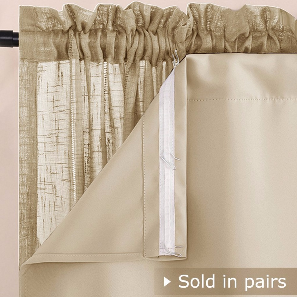 Lace Beige Pink Blue Double Layer Decoraton Window Curtains Set For