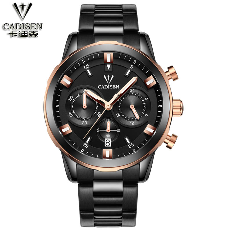 cadisen Men Watches Top Brand Luxury Male Watch Full Steel Display Date Fashion Quartz-Watch Business Men's Watch Reloj Hombre 2017 fashion men watches top brand luxury function date leather sport watch male business quartz wrist watch reloj hombre