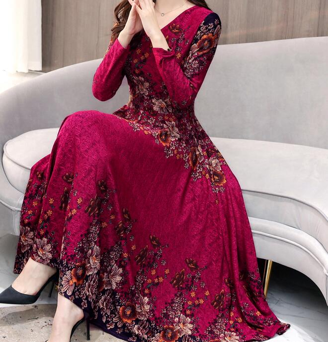 High Quality Hot Sale Plus Size S-3XL 2019 Spring New Arrival Fashion V Collar Flower Printed Long Sleeve Woman Long Dress