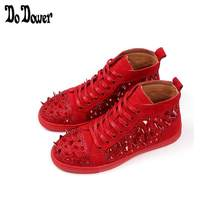 NEW luxury Fashion Men High Top British Style rhinestone rivet Shoes Mens  Causal Shoes Red gold Bottom rubber Shoes for Male 865 da8eef29c0a0