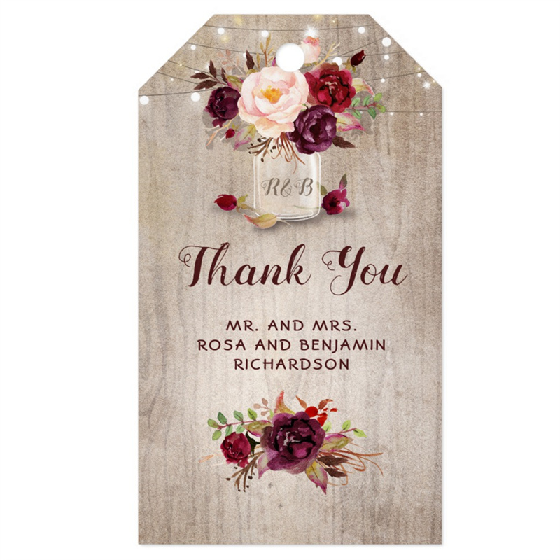 Wedding Thank You Gift Tags: Personalized Wedding Thank You Tags Burgundy Floral Mason