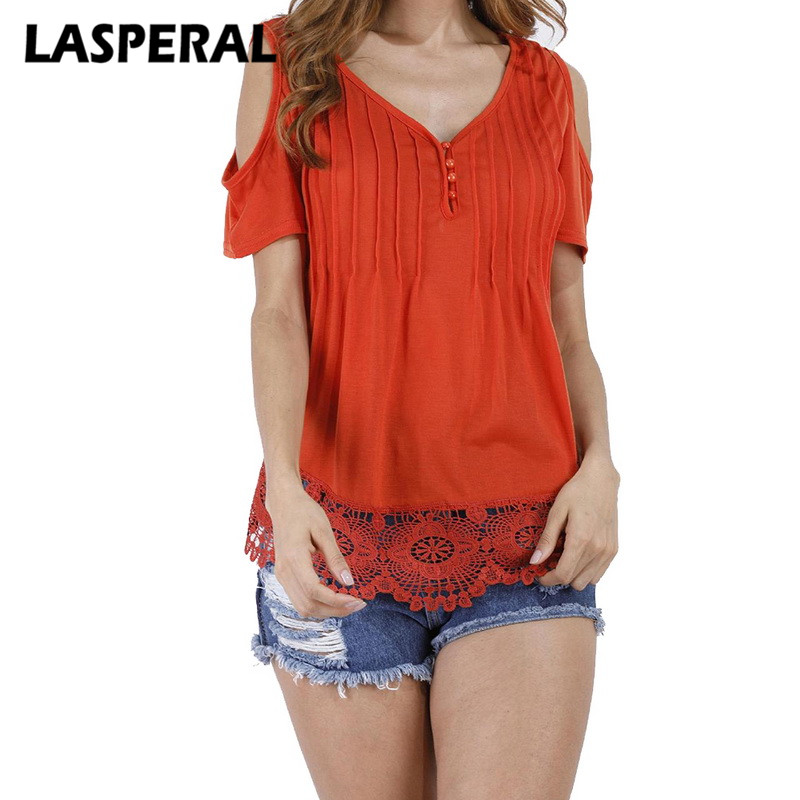 LASPERAL Lace Patchwork T Shirt Women Sexy Off Shoulder Top Short Sleeve White Ladies Summer Hollow Out Pink t-shirt Oversized