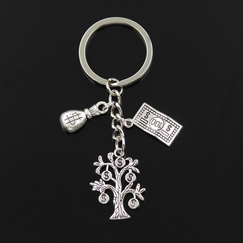 Fashion 30mm Key Chain Keychain Jewelry Silver Color Money Tree Purse Dollar Pendant