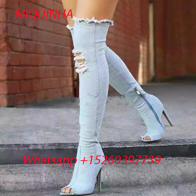 New Fashion Blue Denim Jeans Boots Over The Knee Boots Woman Peep Toe High Heels Sexy Denim Long Motorcucle Boots For Women