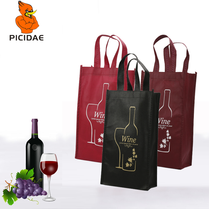 Red Wine Non woven Bag Handle with Single Double Bottle 2 Gift Package Storage Eco Black Own Logo Print Tote Tote Blank Pattern