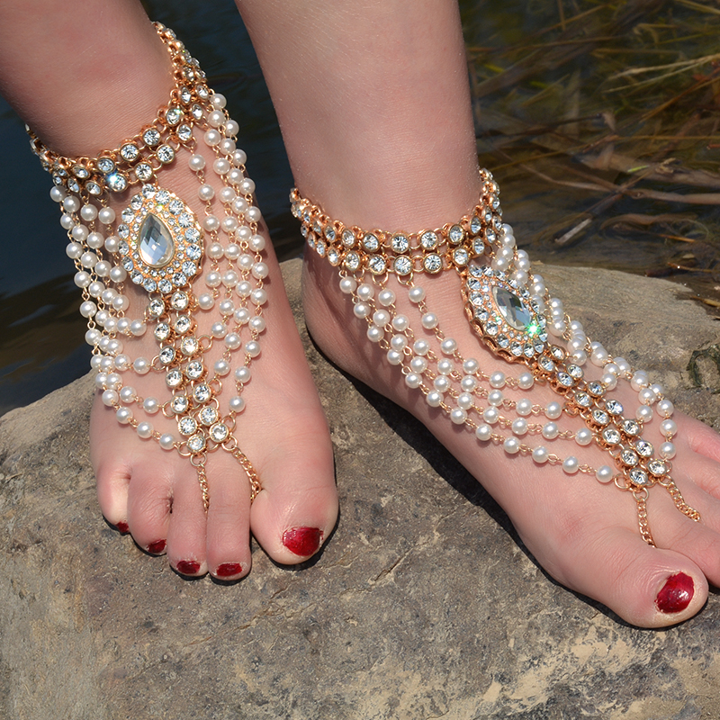 1 ცალი New Boho Vintage Anklet ქალთა იმიტაცია Pearl Tassels Foot ფეხშიშველი Sandal Crystal Multilayer Anklet Beach Wedding