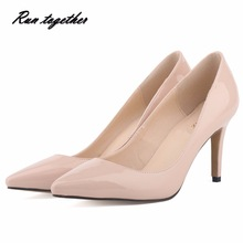 Spring summer New fashion star pointed toe solid high heels shoes nightclub women's pumps thin heels slip on shoes size 35-42