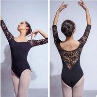 M XXL Sexy 3 4 Sleeve Black See Through Lace Dancewear Ballet Leotard Hot Selling Girl