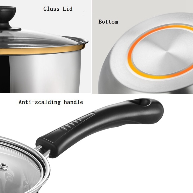 16 18 20cm Thick Stainless Steel Cooking Soup Milk Pot Nonstick Pan Small Saucepan With Glass Lid For Induction Cooker Gas Stove in Soup Stock Pots from Home Garden