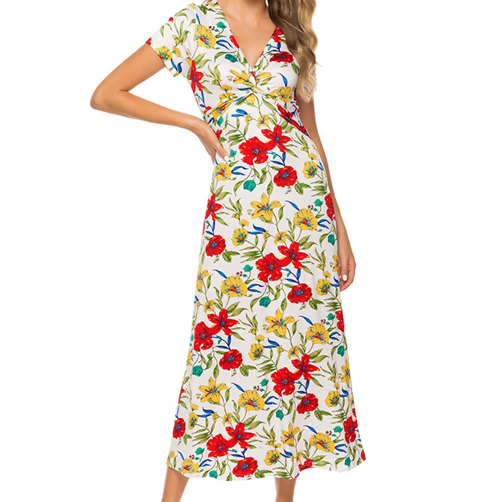 Jaycosin clothes dress Women Cute Fashion Floral V-Neck Print Summer Short Sleeve Mid-Calf Ruffles beautiful Dress 2020