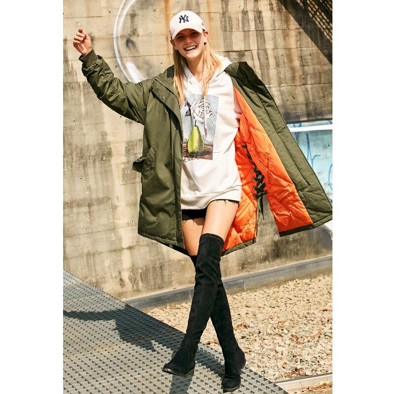 Canard Femmes Femelle Épais Coat Down 2018 Veste Lacets Casual 90 Army Green Witner Blanc Minimaliste Solide Duvet Capuchon Amii De Long À Manteaux wB0fFXqU
