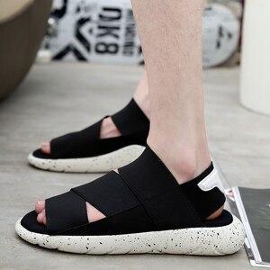 Мужские сандалии в римском стиле, черные сандалии на плоской подошве, пляжные шлепанцы, большие размеры, лето 2019