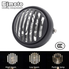 Bjmoto LED 6 1/2 Motorcycle Retro Grill Hi/Lo Headlamp for Kawasaki Harley Honda Yamaha Suzuki Touring Cafe Racer Head Light