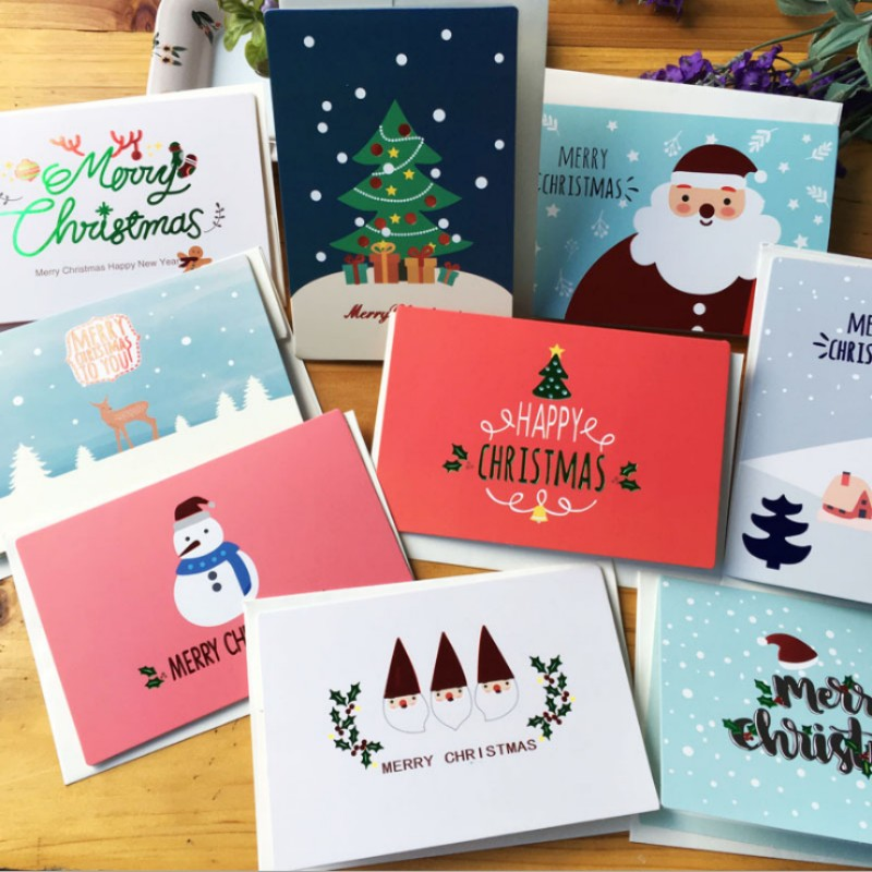 aliexpress com buy 9 pcs merry christmas card santa elk folding message card with envelope