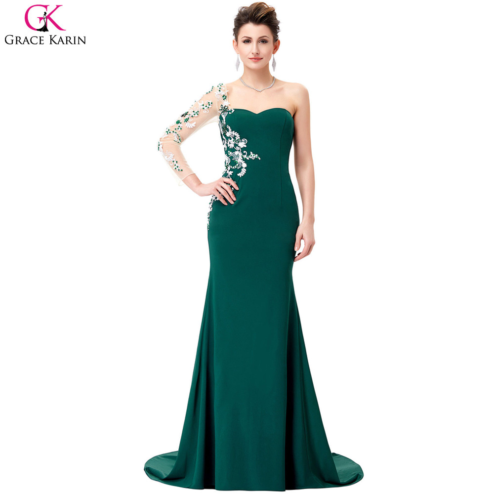 Prom dress new arrival 2016 mermaid pageant dress emerald green - Long Grace Karin Sweetheart Lace Appliques Emerald Green Long Sleeves 2017 Prom Dresses Mermaid Evening Gowns
