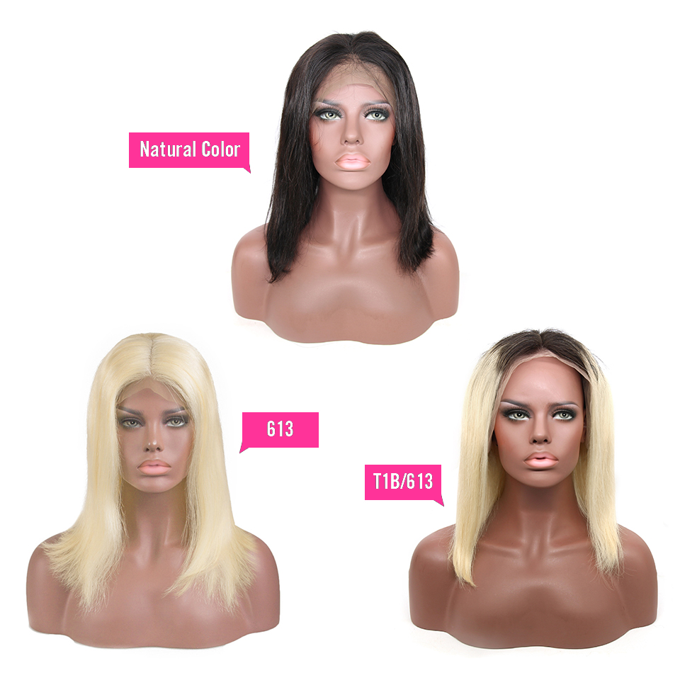 CEXXY 13x6 peluca frontal de encaje para mujeres negras recta brasileña pelo rubio peluca corta Bob ombre encaje peluca Frontal T1B 613