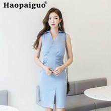Plus Size Solid OL Office Work Ladies Dresses Sleeveless Sheath Bodycon Wrap Midi Dress Women Blue Pleated Casaul Korean