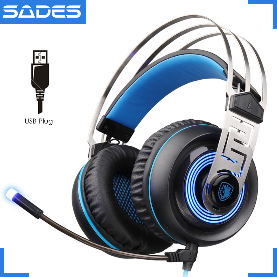 SADES a7 gaming headset usb computer luminous big game 7.1 vibration headphones earphone with microphone for desktop pc, laptop hands free headphones usb plug monaural headset call center computer customer service headset for pc telephone laptop skype chat