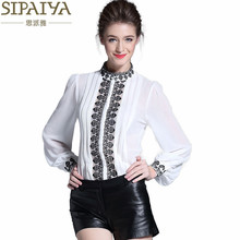 SIPAIYA Silk Blouse Shirt 2017 Spring New Arrival Women Shirts Office Lady Shirt Blouse Floral Embroidery