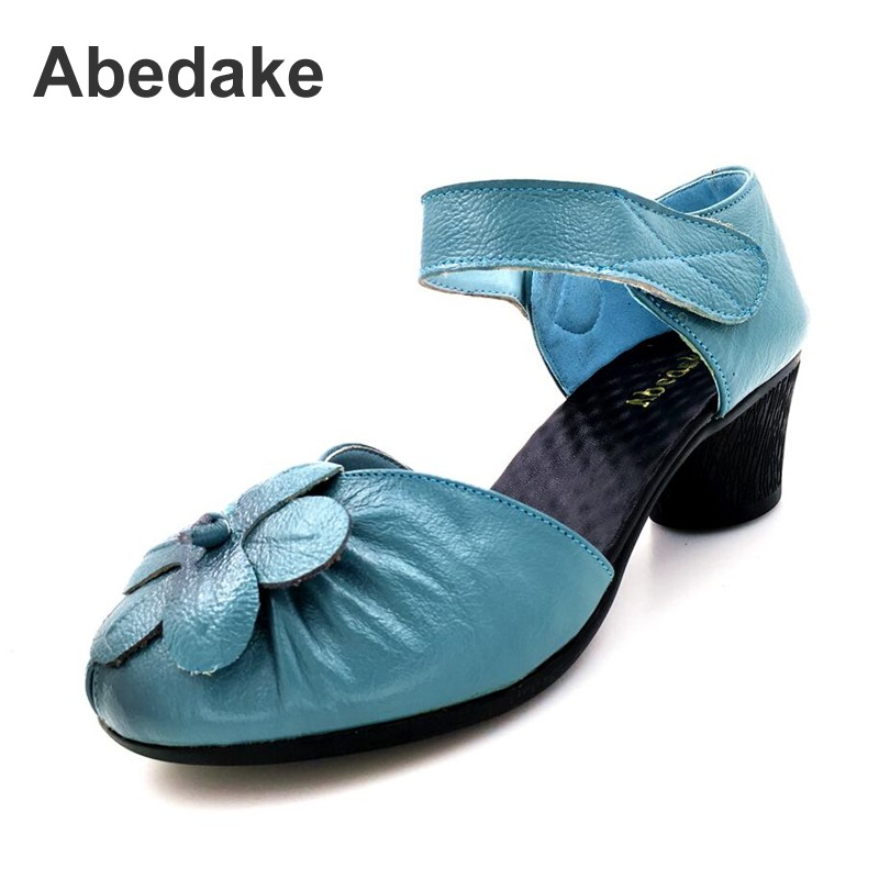 Abedake brand women sandals handmade genuine leather casual sandals women summer shoes  flower  solid color thick heel sandals