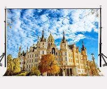 7x5ft Sunny Day Backdrop Schwerin Castle Golden Buildings Photography Background