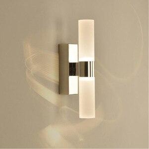 Image 1 - AC85 265V 6 ワットダブルヘッドアクリル led ウォールライトホテル/寝室の壁ランプ浴室のためのステンレス鋼 led ミラーライト