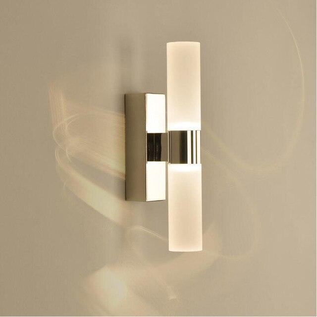 AC85 265V 6 ワットダブルヘッドアクリル led ウォールライトホテル/寝室の壁ランプ浴室のためのステンレス鋼 led ミラーライト