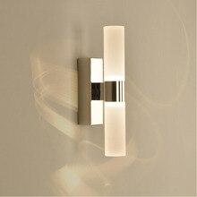 AC85 265V 6W Double têtes acrylique mur LED lumière pour hôtel/chambre lampes murales pour salle de bain en acier inoxydable LED miroir lumières