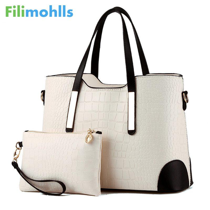 Vintage Women Messenger Bags Shoulder Handbag Purse Wallet Leather Handbags Women Bag Crocodile Pattern Composite Bag S1417
