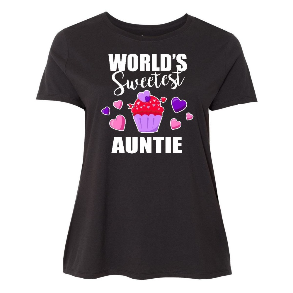 Printed Round T Shirt Cheap Price Crew Neck Women Casual Short Worlds Sweetest Auntie With Cupcake Tee Shirts